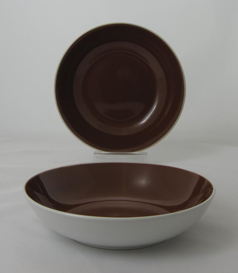 TWO TONE talíř hluboký 20 cm hnědý